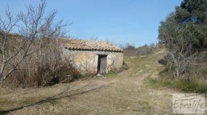 Finca en la huerta de Caspe con masía de piedra. en oferta con olivos