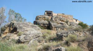 Detalle de Torre en la Zaragozeta Caspe con olivos